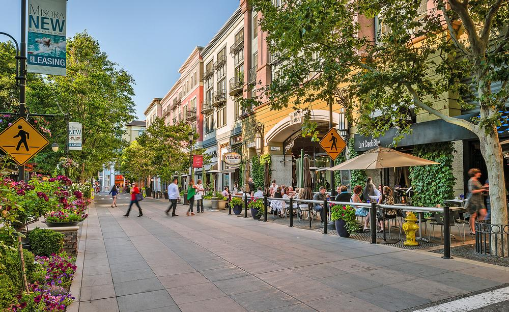 The award-winning mixed use Santana Row project in San Jose, California