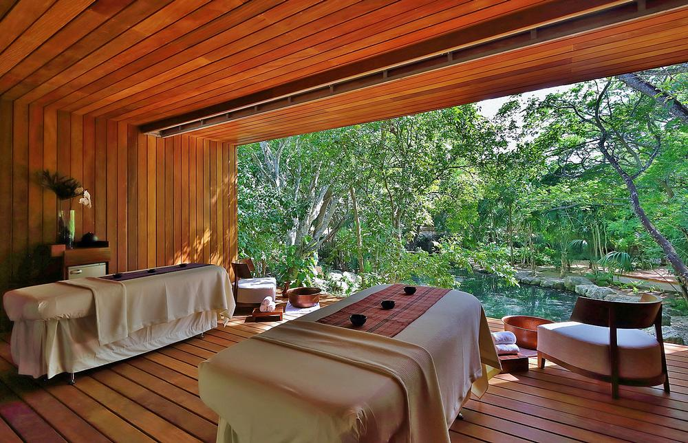The treatment rooms look out onto the jungle and cenote