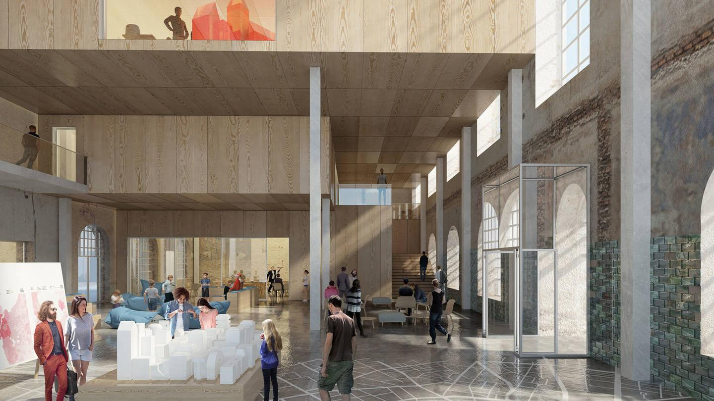 Renderings show that the existing floors in the building will be removed and replaced by a new interior wooden structure, creating an open feel to the museum. / Adept