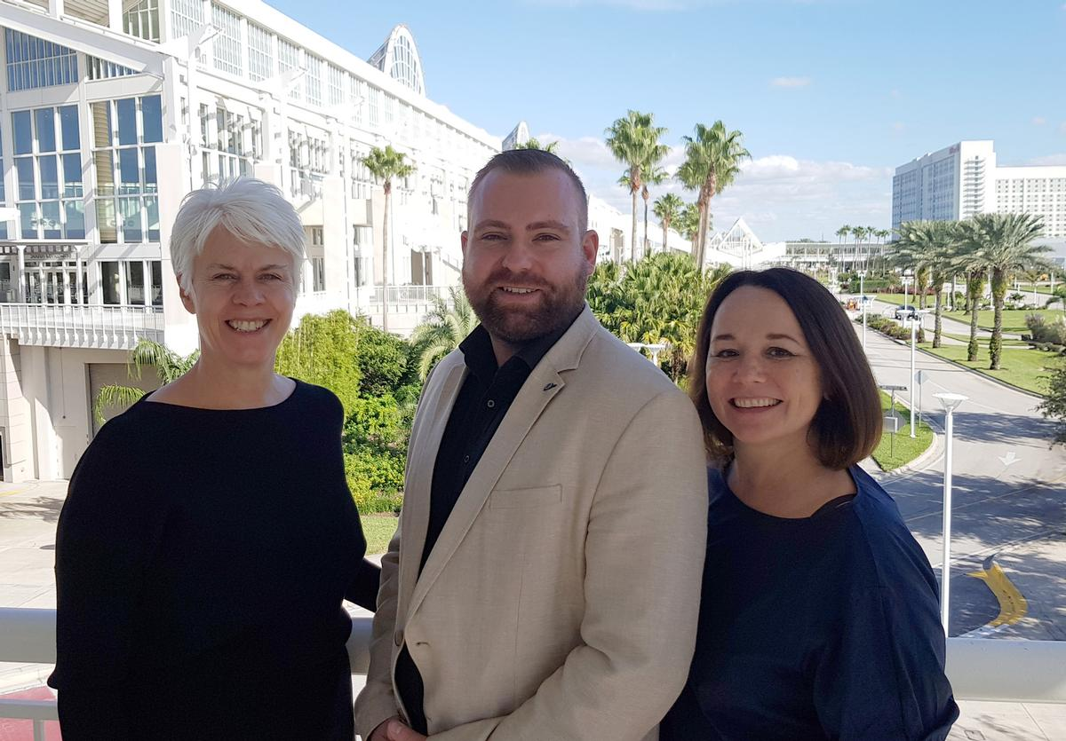 (from left), Liz Terry, CEO Leisure Media with Florian Brauer, FIBO global Brand Manager, and Silke Frank, FIBO event director
