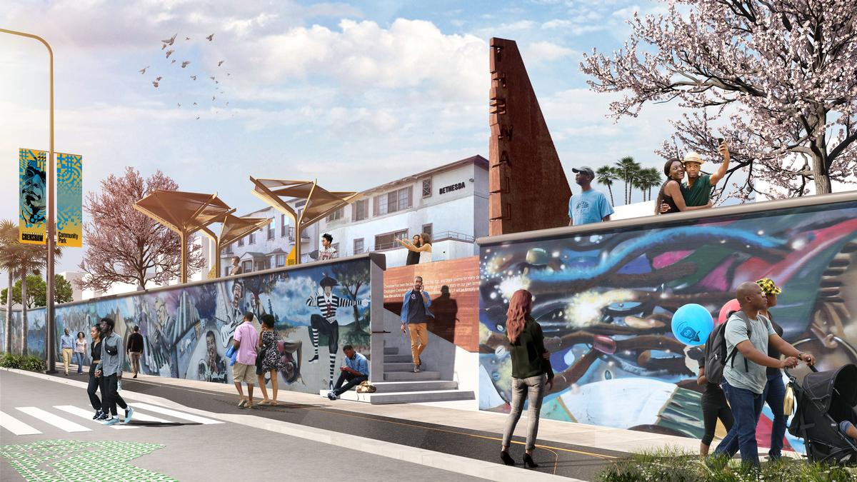The participative installation will celebrate a century of African-American cultural history. / Courtesy of Destination Crenshaw