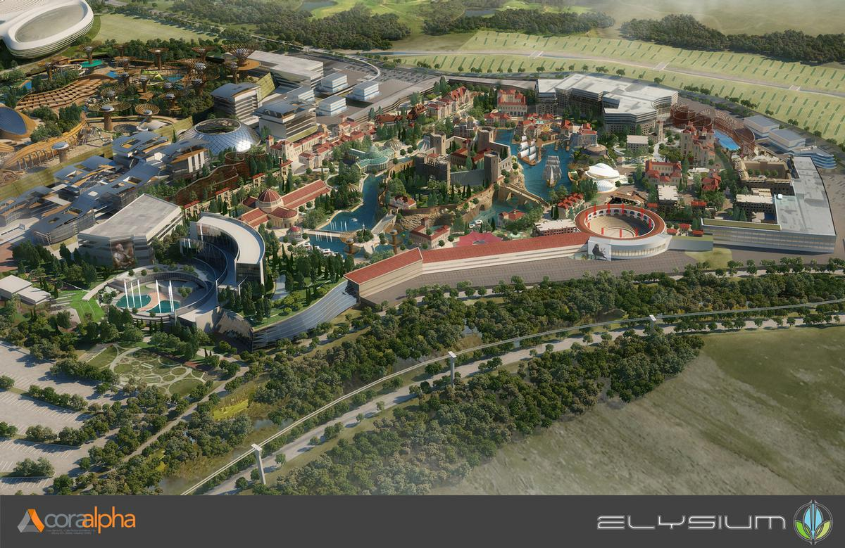The new complex will feature multiple leisure attractions, including a theme park, sports arena, and marina. / Courtesy of Cora Alpha