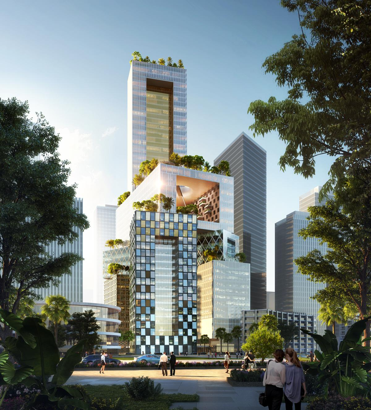 The ambitious, porous design is said to be the result of MVRDV's research into vertical cities in 2009. / Courtesy of MVRDV