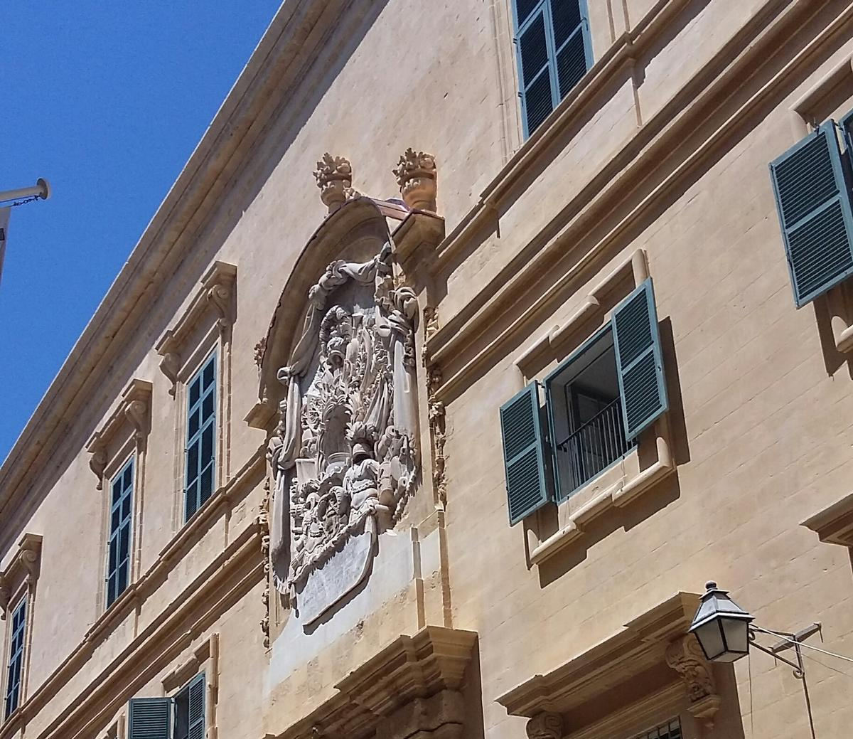 Part of the recently-renovated entrance to the Auberge D'Italie in Valletta, home of the MUZA art museum