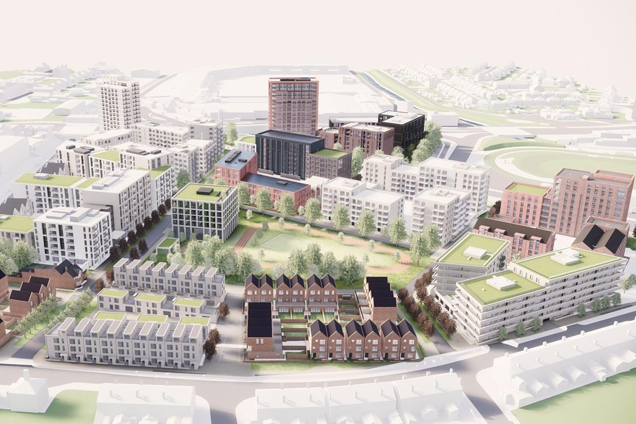 The £350m project will house competitors and officials during the Games and provide 1,100 homes in legacy mode