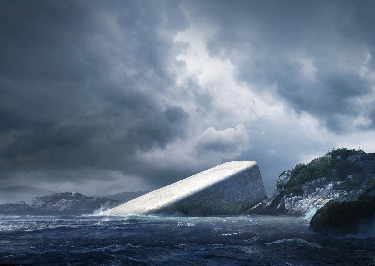 The future Norwegian restaurant is reminiscent of Jules Verne's Nautilus. / Courtesy of Snøhetta