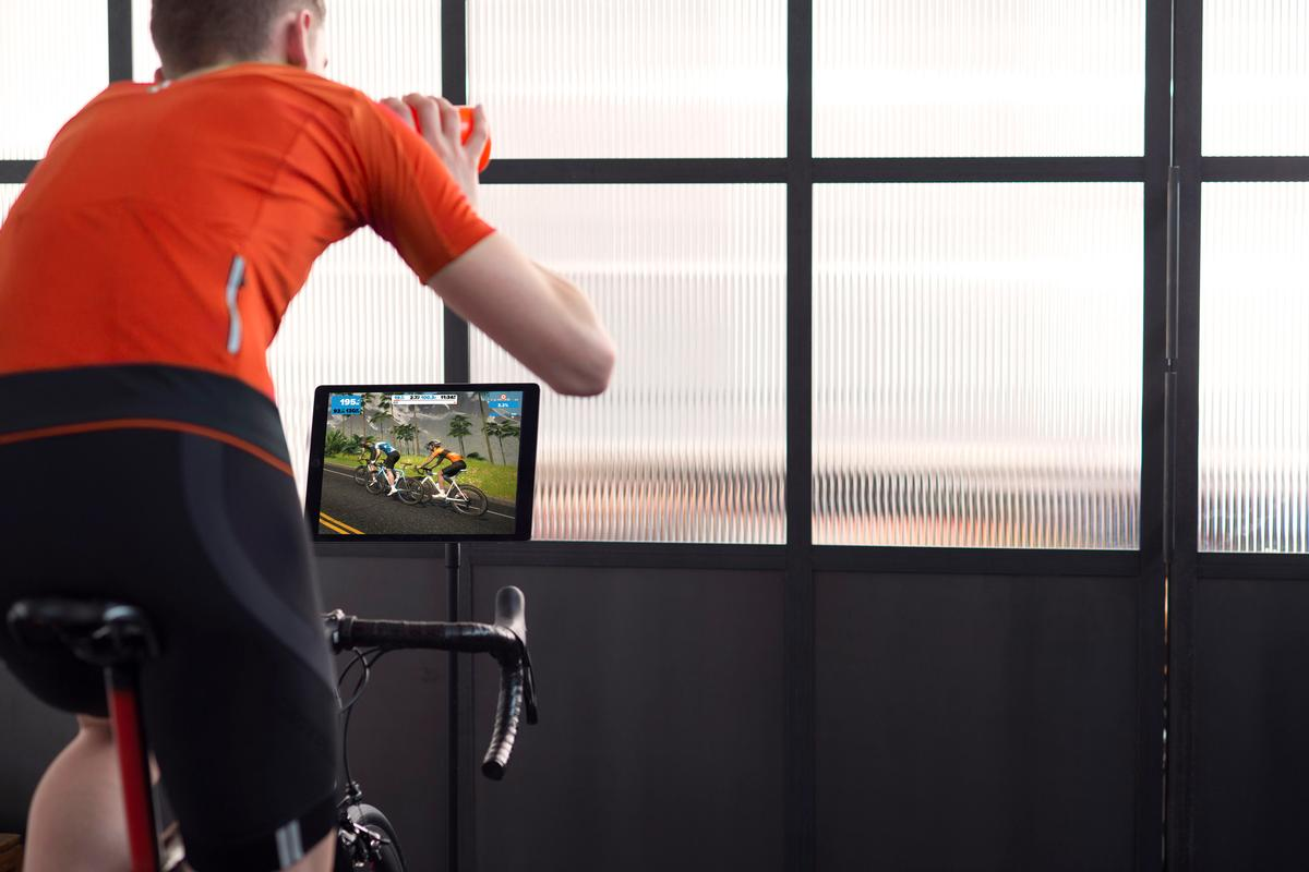 The Zwift app enables users to ride or run with friends from all over the globe