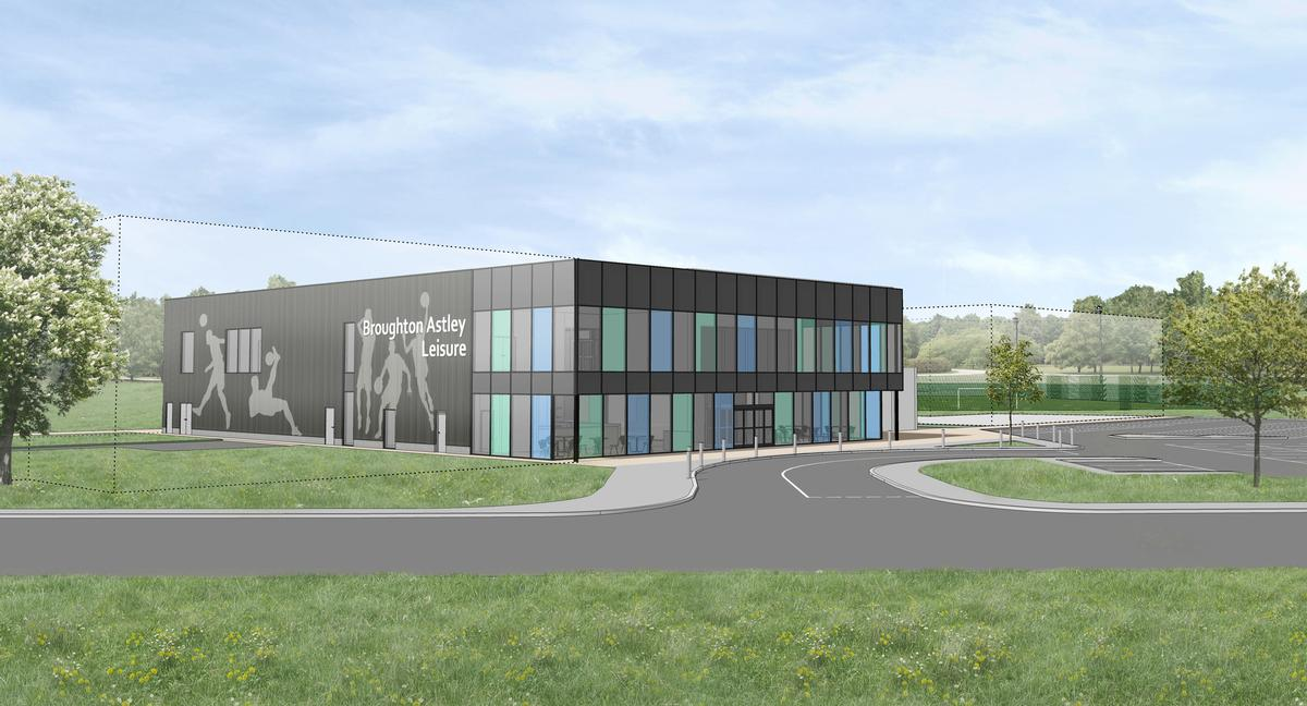 Designed by Watson Batty Architects, facilities at the new Broughton Astley Leisure Centre will include a four-court sports hall