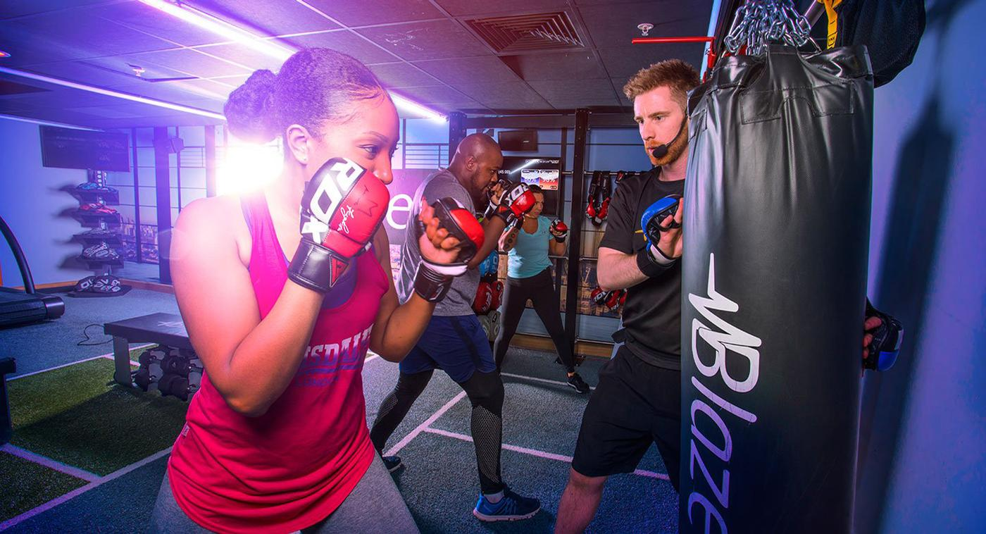 Blaze is a team-based HIIT class offering training across three distinct areas – combat, cardio and strength – in a specially designed studio