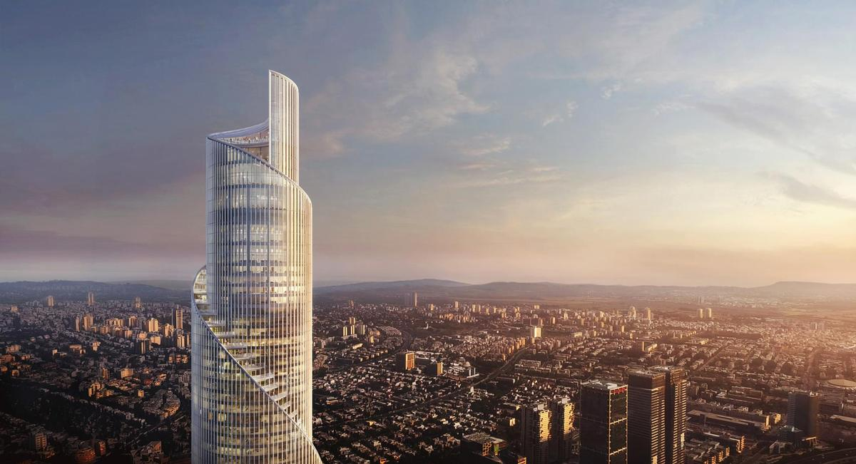 The future building – set to become the tallest in Tel Aviv, Israel – will resemble an unfolding scroll. / Courtesy of KPF