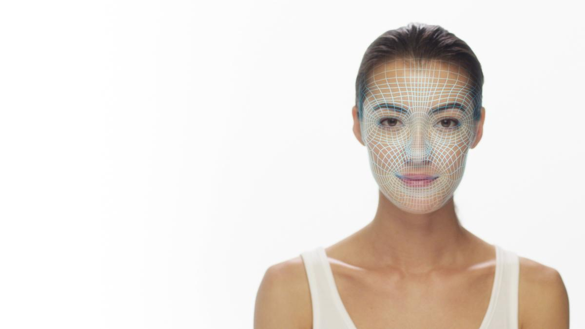 Using a smartphone 3D camera, the user snaps a selfie to create a precise, multi-dimensional map of her face and the exact measurements and shape of her nose, space between the eyes, lips, and other unique physical characteristics