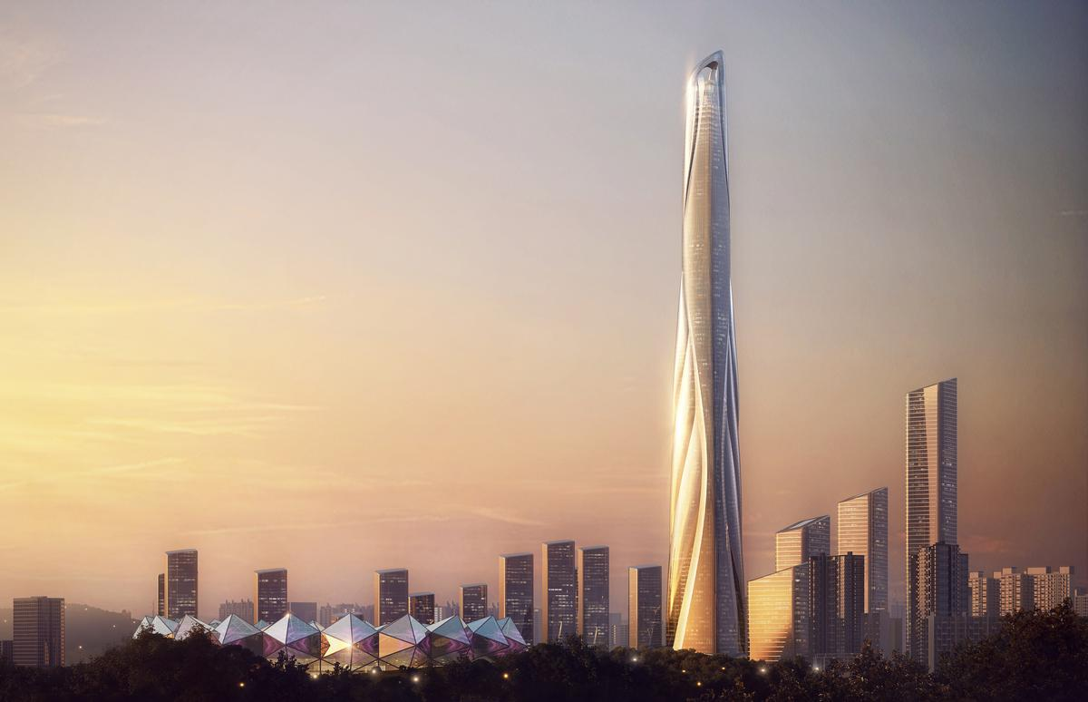 The skyscraper will be the centrepiece of AS+GG's Shimao Shenzhen Longgang Master Plan. / Courtesy of Adrian Smith + Gordon Gill Architecture