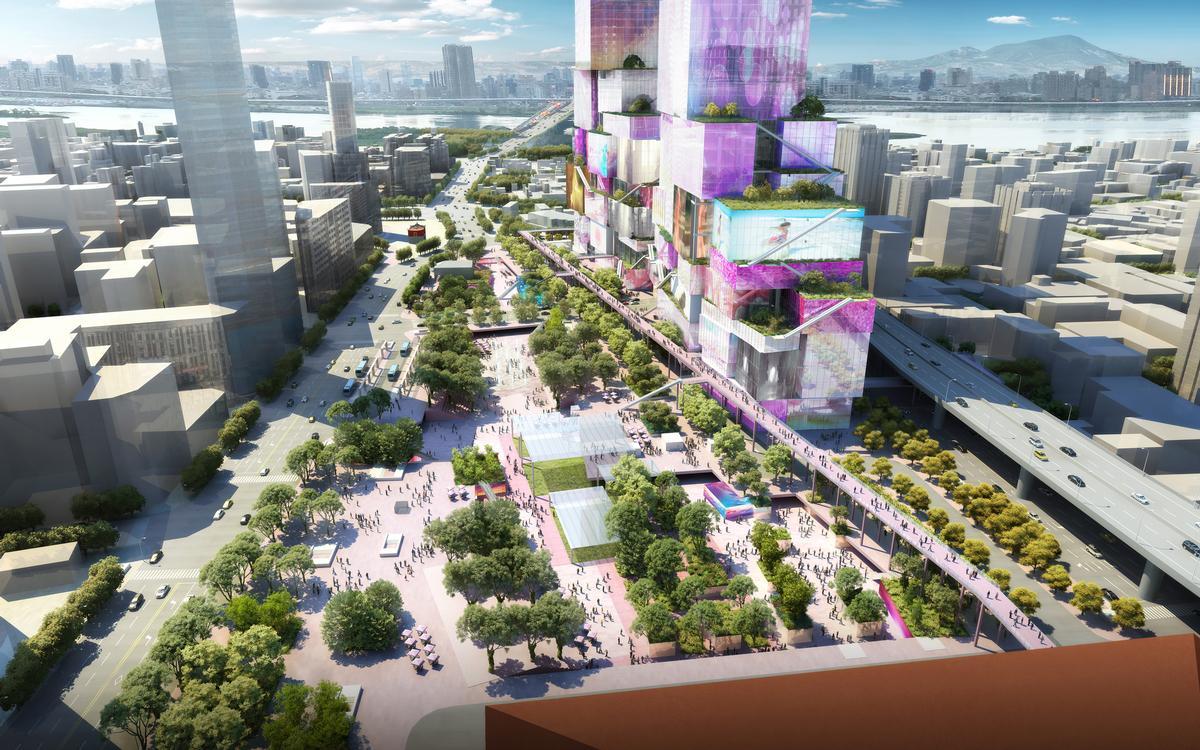 The new mixed-use complex has been described as a vertical urban neighbourhood. / Courtesy of MVRDV