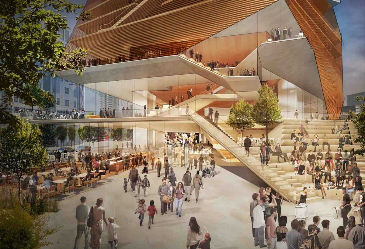 The new, layered structure will refresh the southern wing of the Barbican, a space described by Elizabeth Diller – founding partner at DS+R – as 'a casualty of mid-century planning'. / Courtesy of Diller Scofdio + Renfro