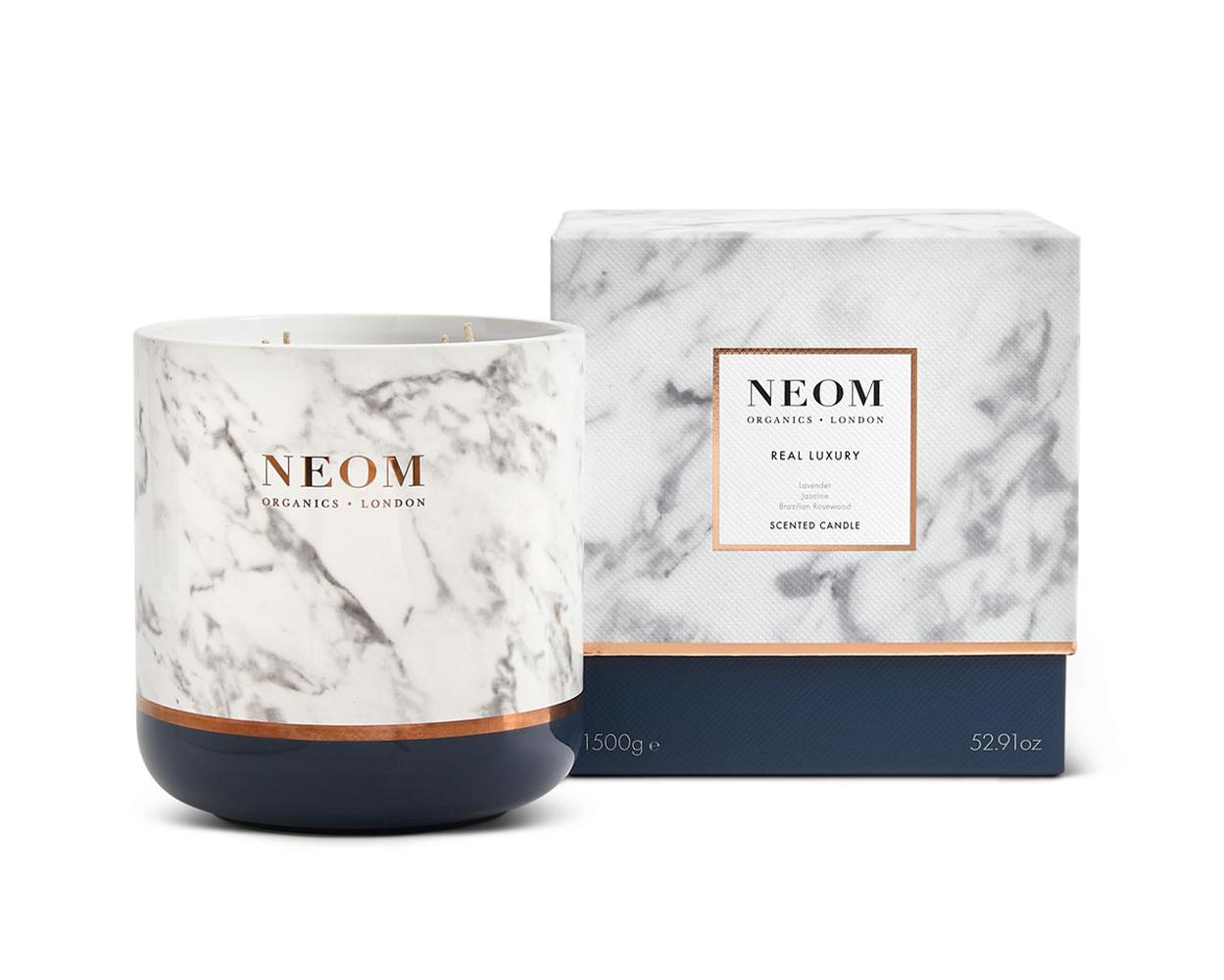 The Real Luxury Candle contains 24 essential oils including lavender, jasmine and ylang ylang