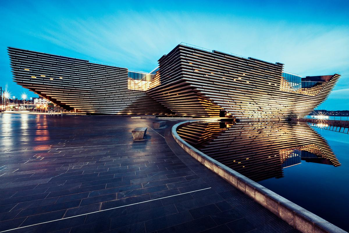 Jutting out into the River Tay on Dundee waterfront, the V&A Dundee was designed by Kengo Kuma