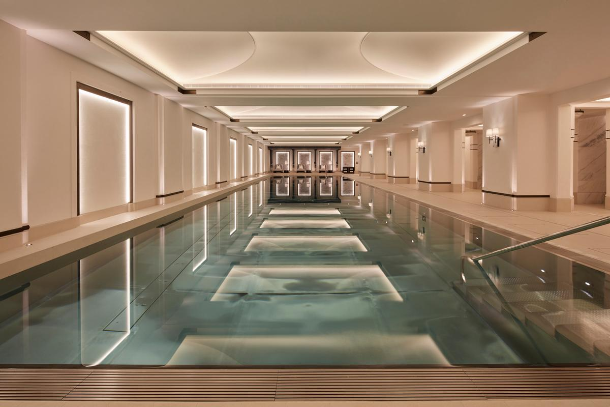 Wellness areas in the new property draw on the aesthetics of ancient spa towns like Bath and Harrogate. / Courtesy of Clarges Mayfair