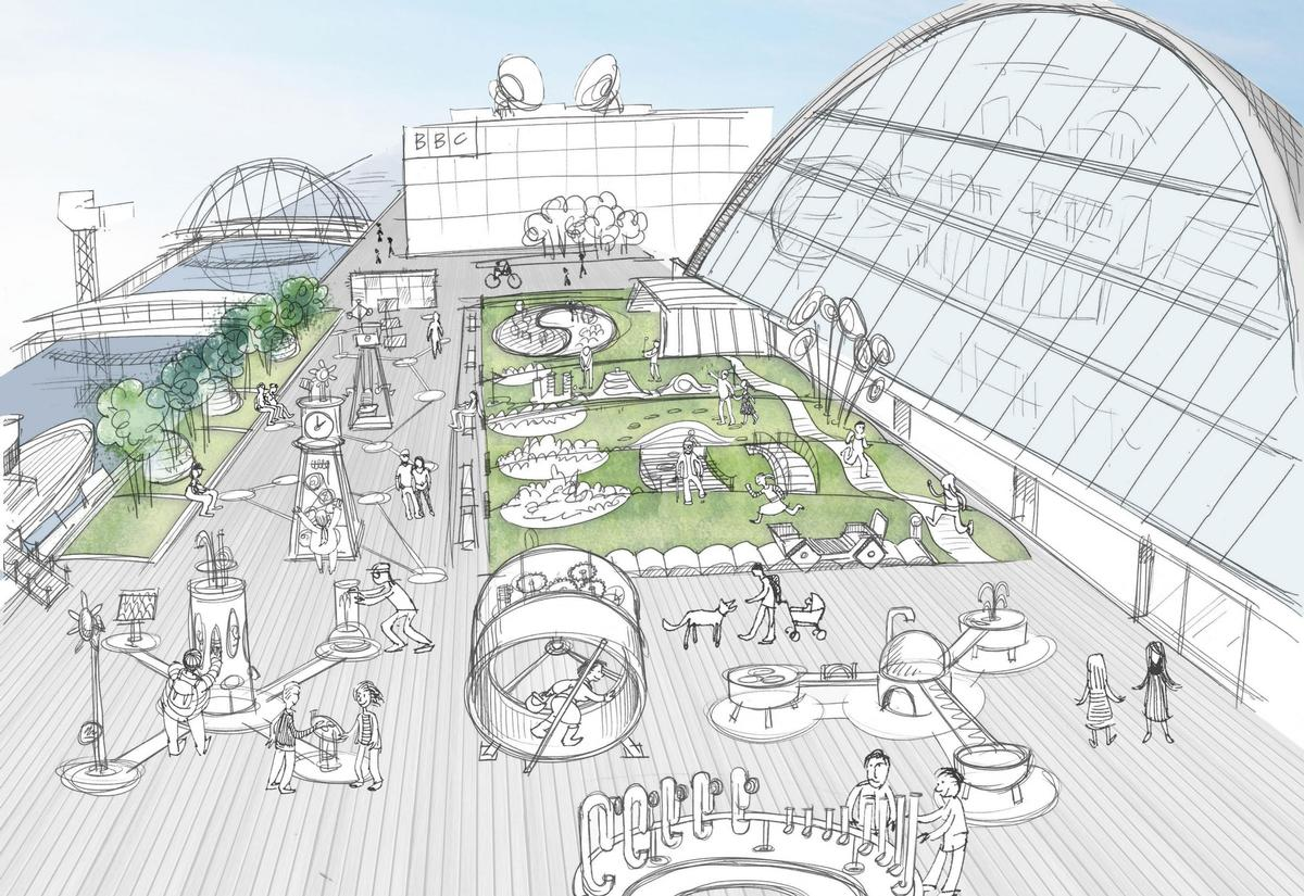 Including in the plans for the Glasgow Science Centre are a number of outdoor exhibit areas that will allow visitors to view artefacts and engage with science on the banks of the River Clyde