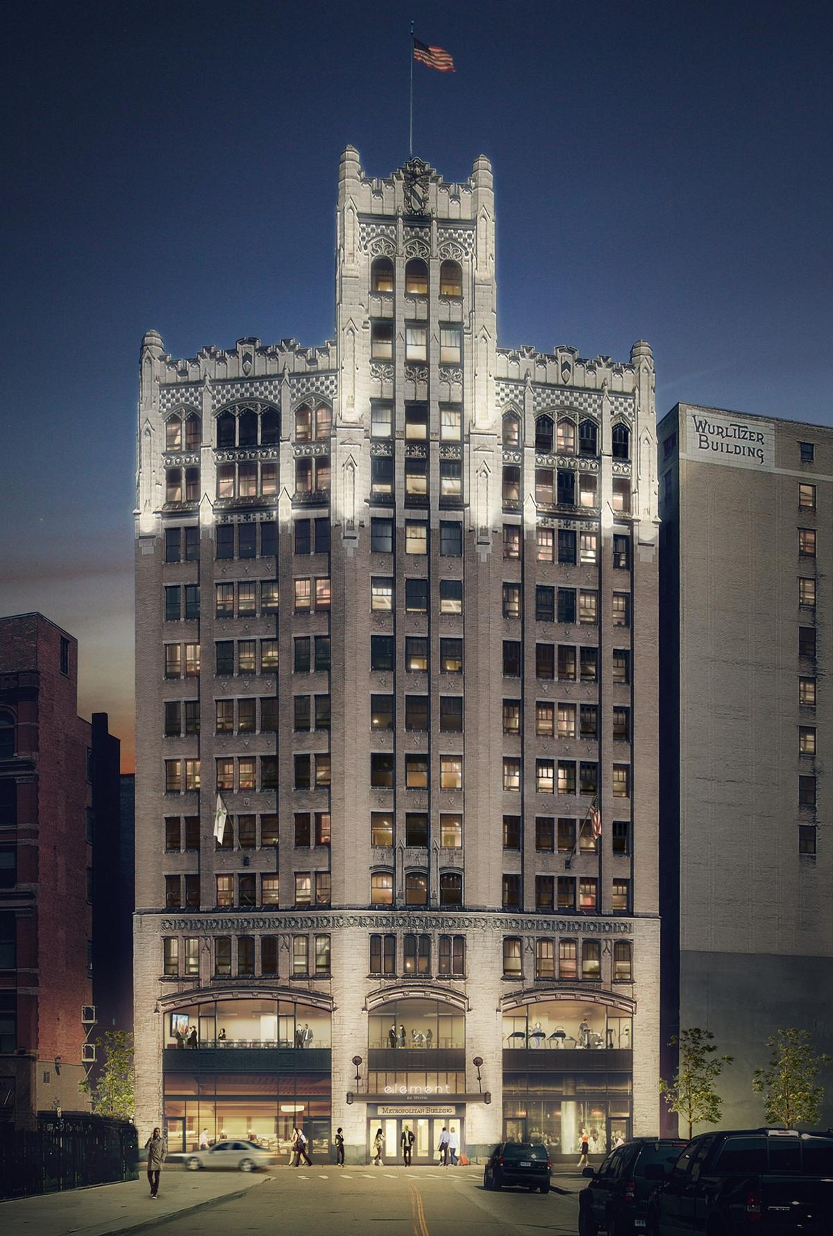 The 92-year-old building – built during the Roaring Twenties – has long been considered one of downtown Detroit's most striking structures. / Courtesy of Element Detroit