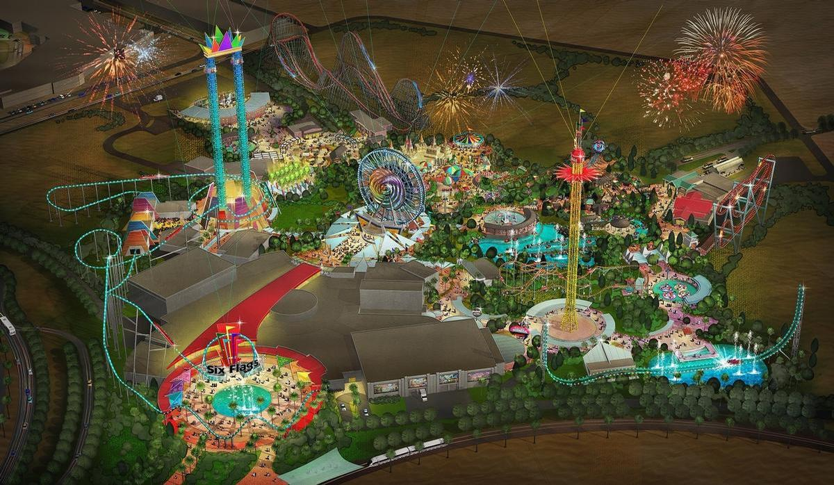 Six Flags Dubai was due to contain 27 rides across six themed zones / Six Flags/DPR