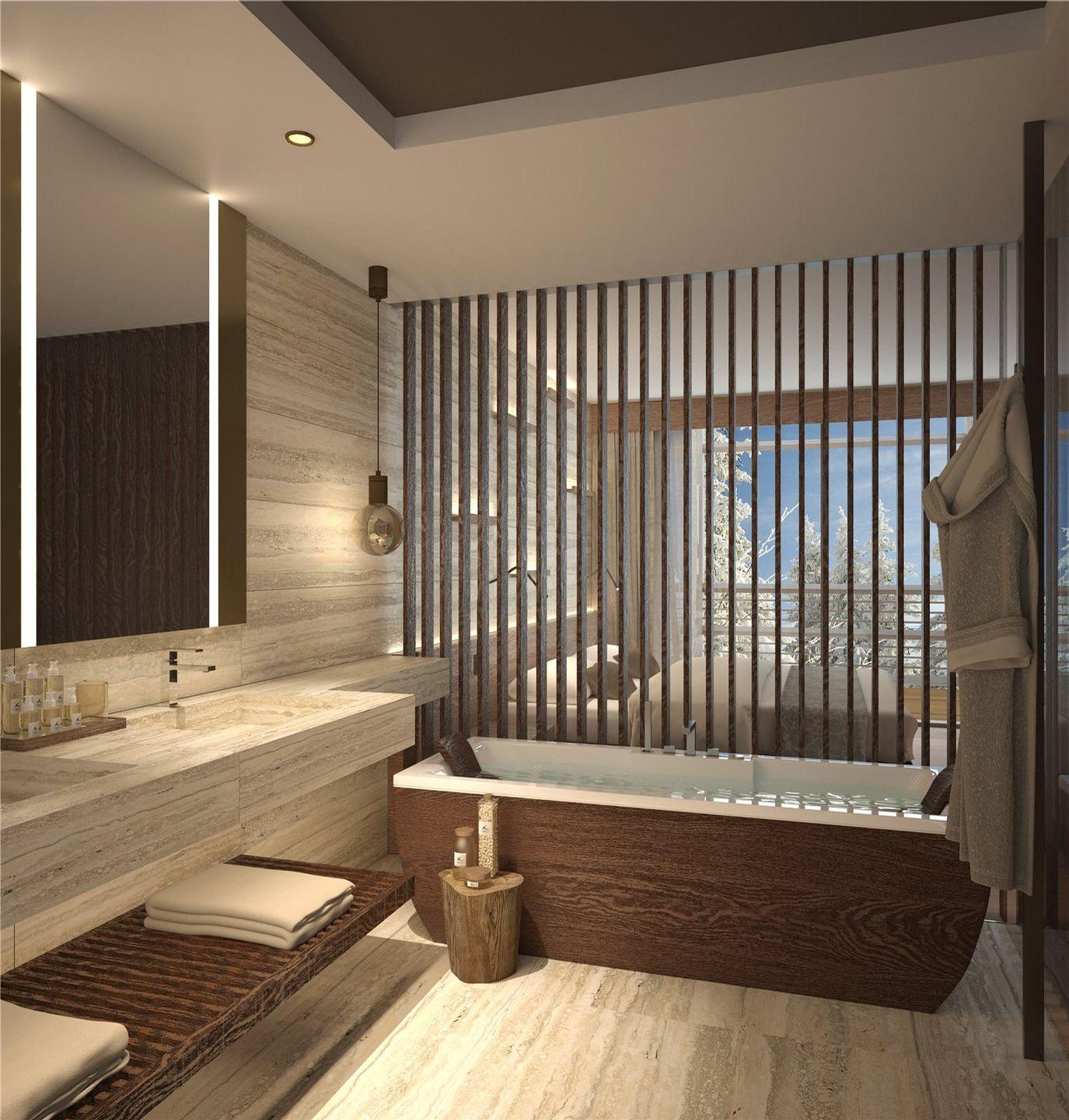 All rooms will be fitted with chronotherapeutic lighting; three-bedroom apartments and penthouses will also have Finnish saunas. / Courtesy of Lefay Resorts