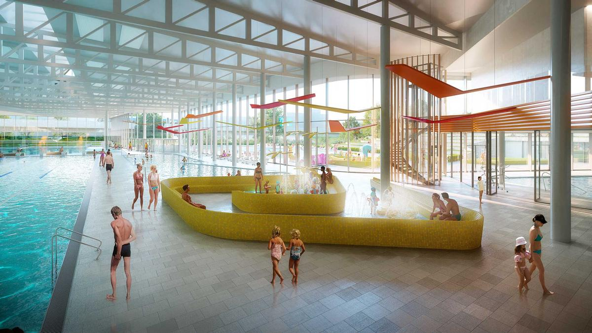 The aquatic centre will feature multiple indoor and outdoor pools, as well as a wellness area. / Courtesy of Auer Weber