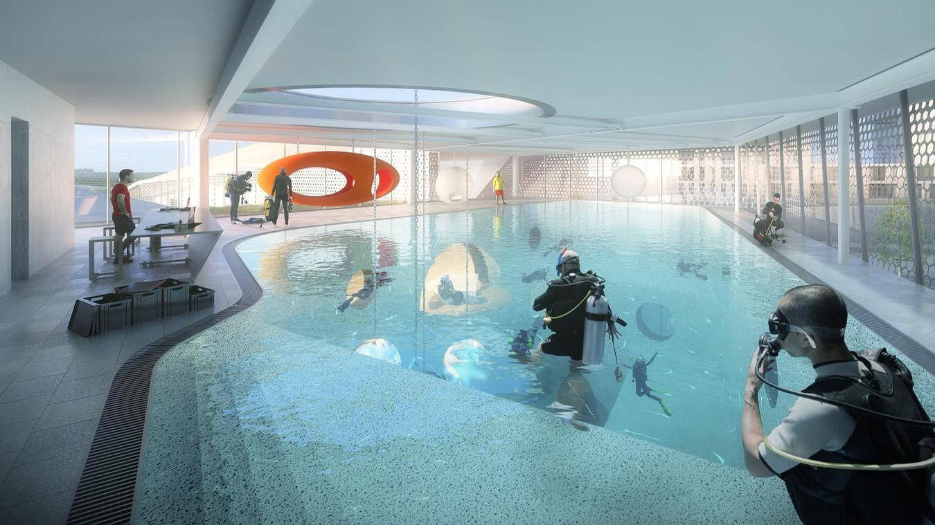 The site will also have the deepest dive pool in the world. / Courtesy of Auer Weber