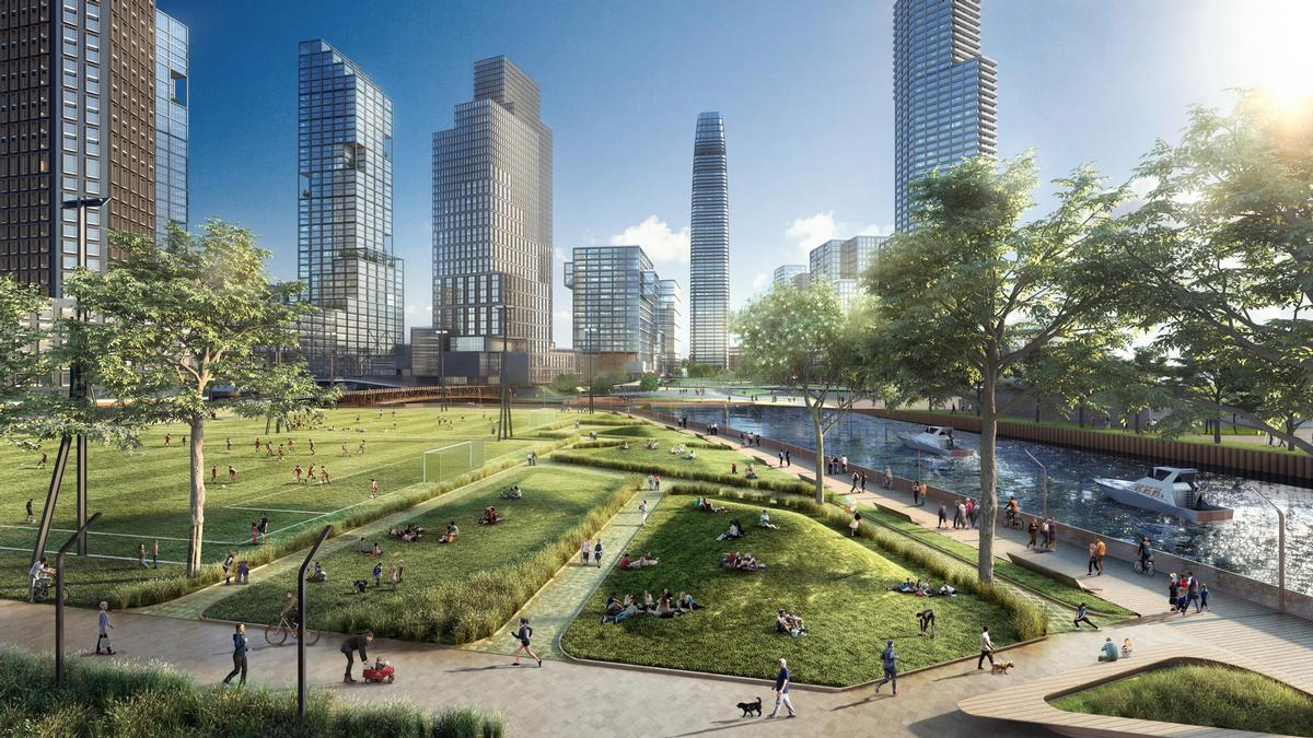The new space will feature 21 acres of regenerated public realm. / Courtesy of CBT Architects