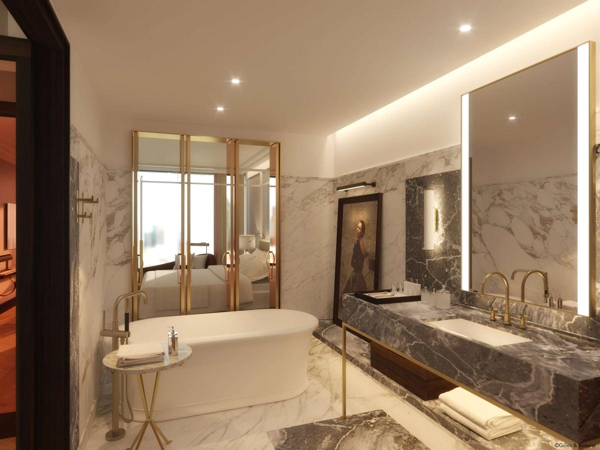 Parisian studio Gilles & Boissier designed the hotel's rooms, pool, fitness centre, and spa – which will have eight treatment rooms. / Courtesy of Gilles & Boissier