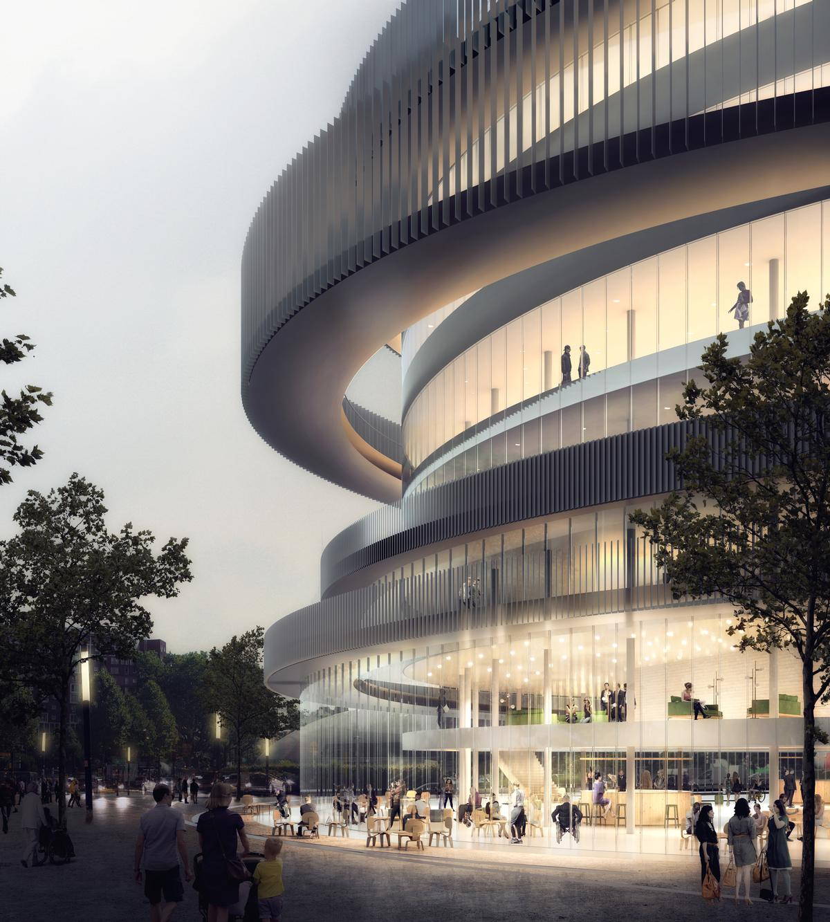 Wheelchair-friendly ramps and promenades will encircle the complex's exterior. / Courtesy of GA Smart Building