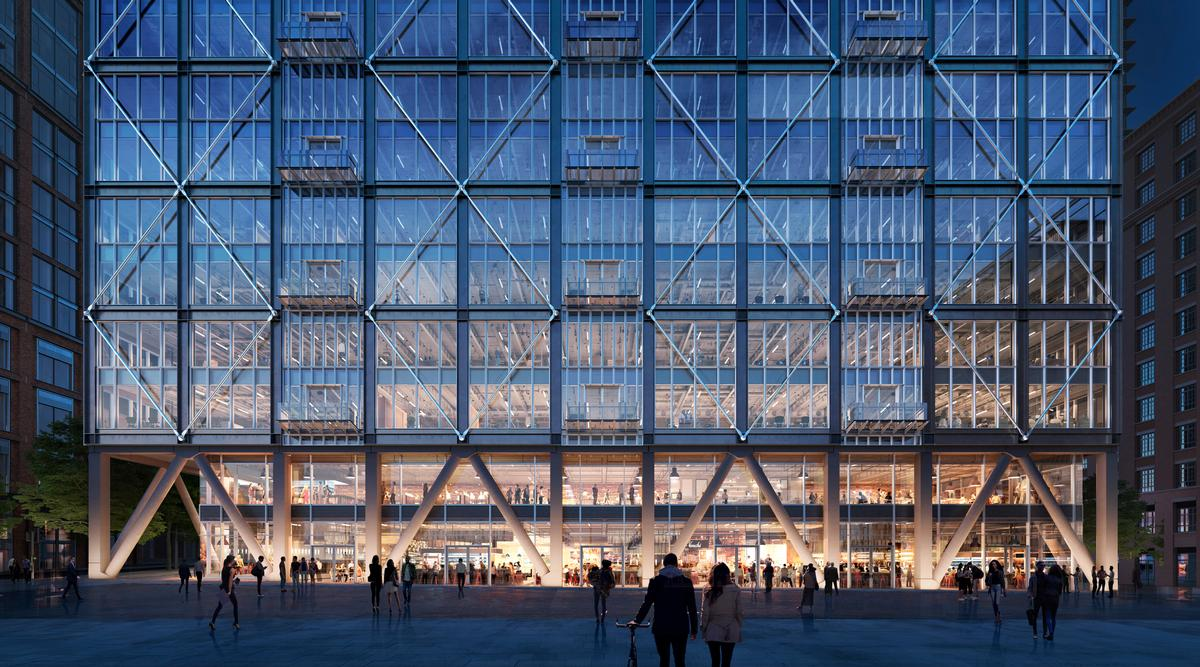 The 25,000 sq m Market Building will rise in the new Wood Wharf quarter. / Courtesy of Pilbrow and Partners