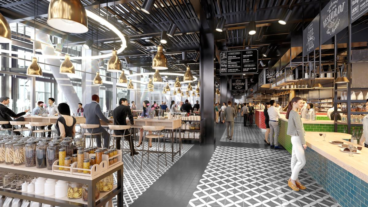 The property will feature a ground-floor marketplace and a rooftop restaurant. / Courtesy of Pilbrow and Partners