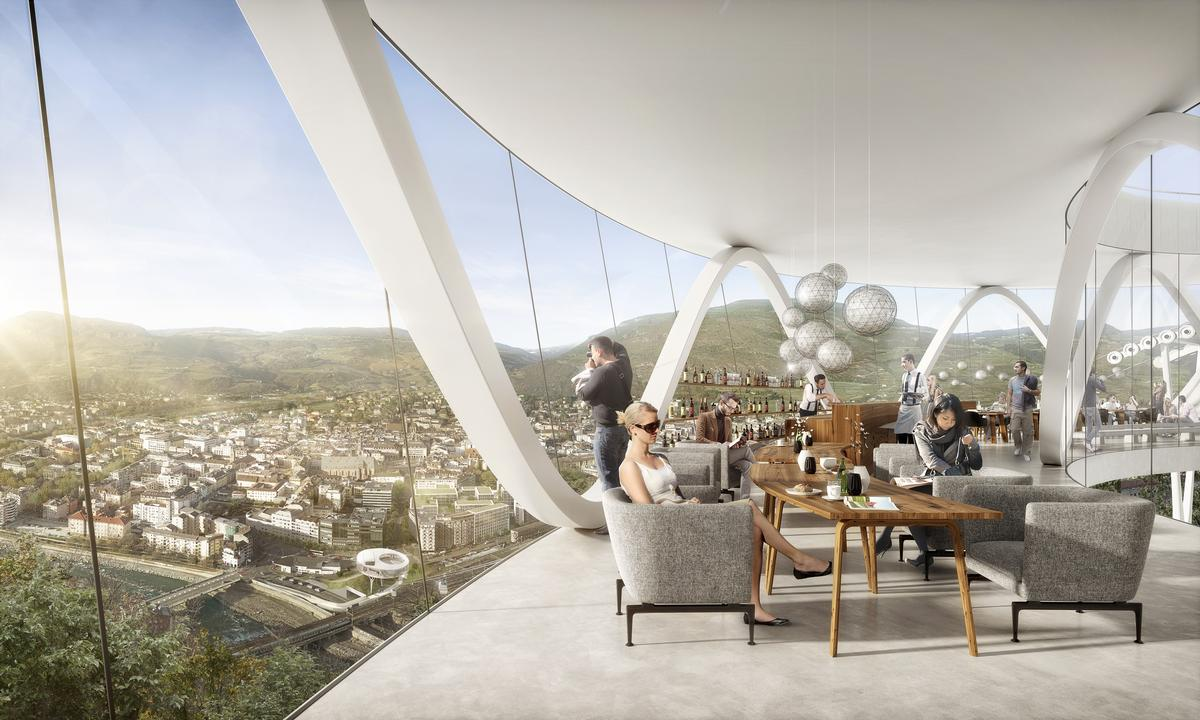 The museum will provide panoramic views of Bolzano and the surrounding valley. / Courtesy of moka-studio and Snøhetta