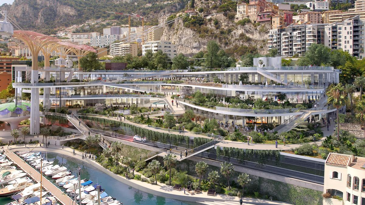 The elevated space will be located in Fontvieille – an artificial peninsula originally created in the 1960s. / Courtesy of Studio Fuksas