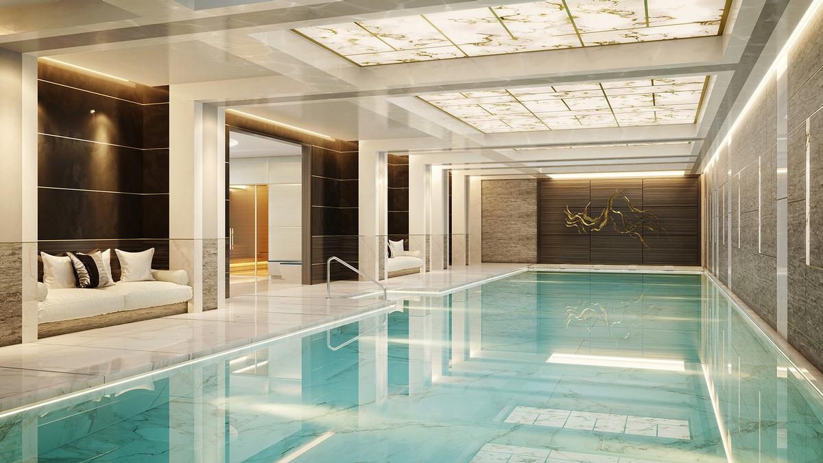 Spa facilities – all created by interior design firm Goddard Littlefair – will include steam rooms, saunas, and a hair salon. / Courtesy of Qatari Diar Europe