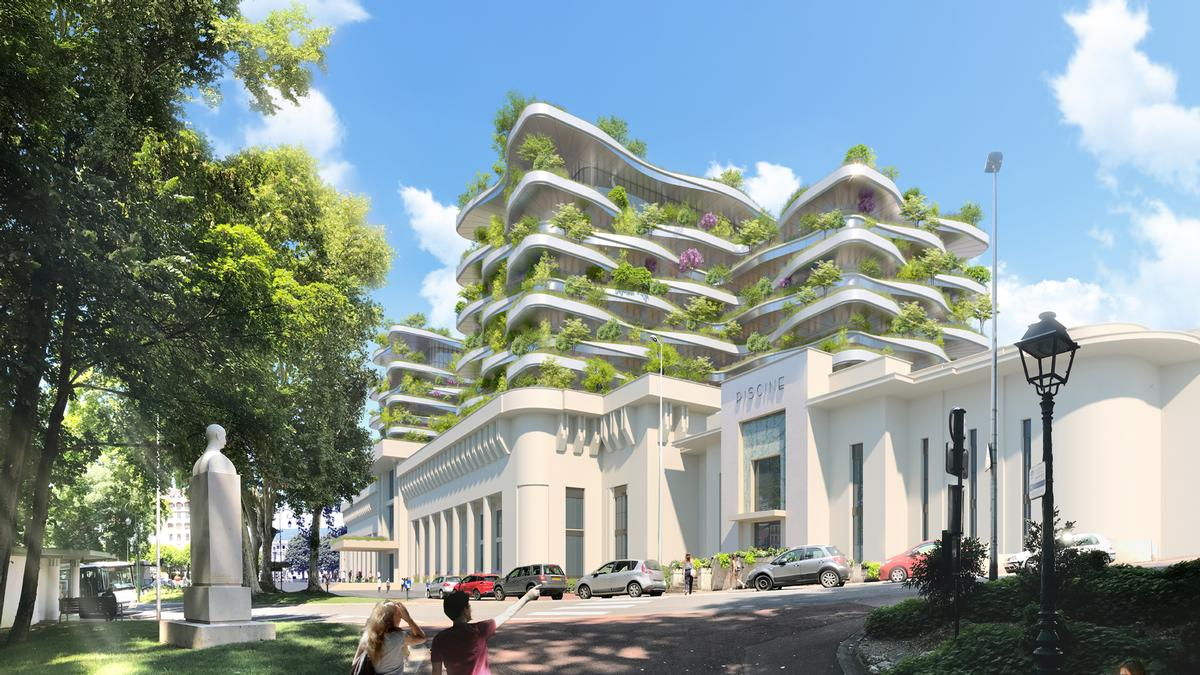 The future spa centre will be situated in Aix-les-Bains, France. / Courtesy of Vincent Callebaut