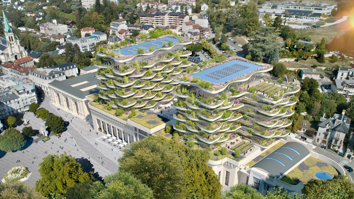 The upper floor will have solar panels and a rooftop orchard. / Courtesy of Vincent Callebaut