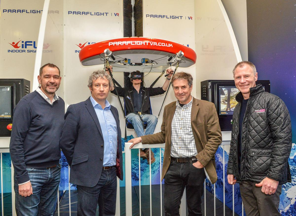 L-R: Mike Calvert from Reward Finance Group, Matt Wells and David Wood from Frontgrid and Ian Adams from Bathgate Business Finance at the opening of the Paradrop VR attraction at iFly Basingstoke / Steve Smyth Photography