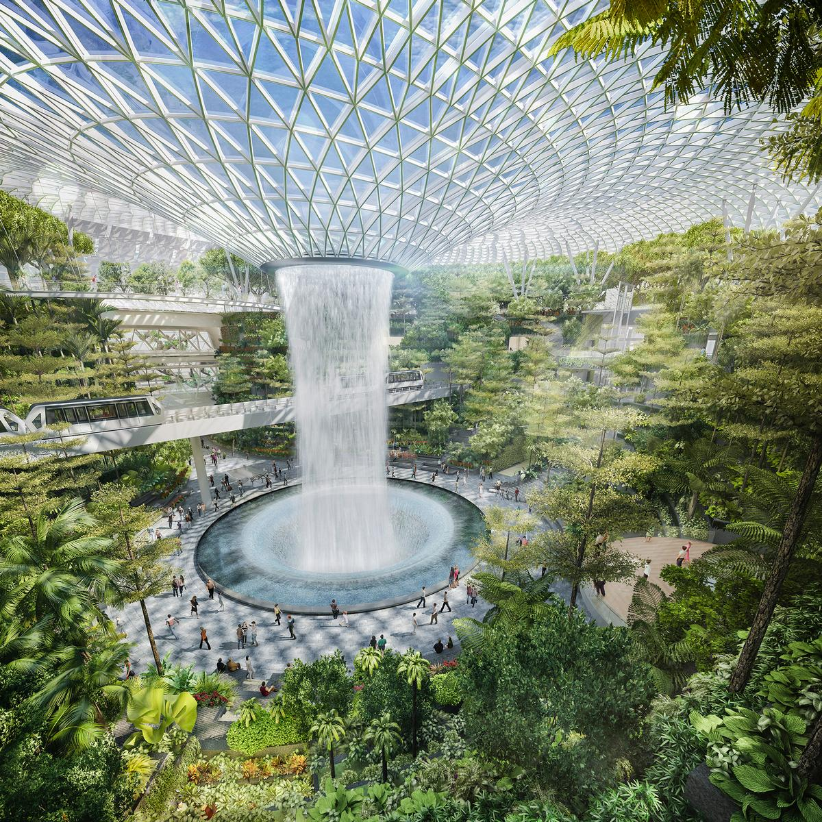 The highlight of Jewel Changi Airport will be a 40-metre waterfall that will descend from a toroidal ceiling. / Courtesy of Safdie Architects
