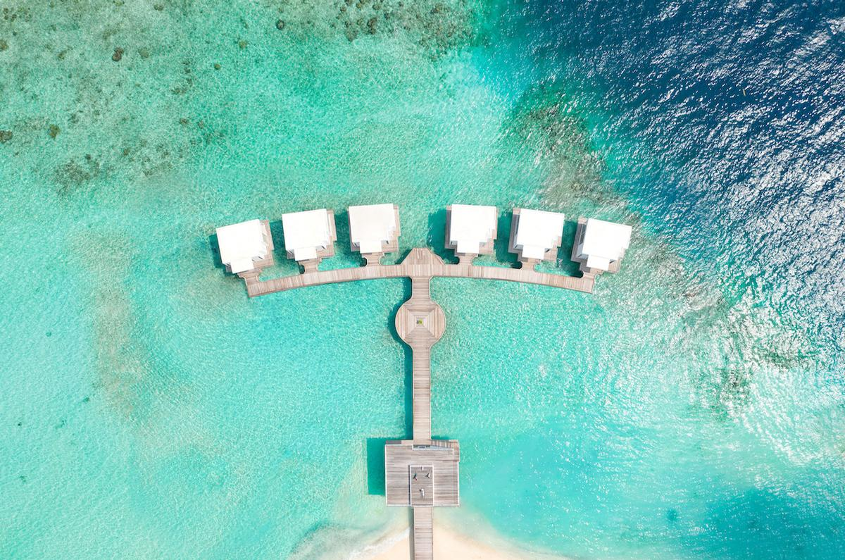 Set back from the resort, the translucent overwater Lux Me Spa features a menu where the healing power of touch, water therapy, and breath-work come into play