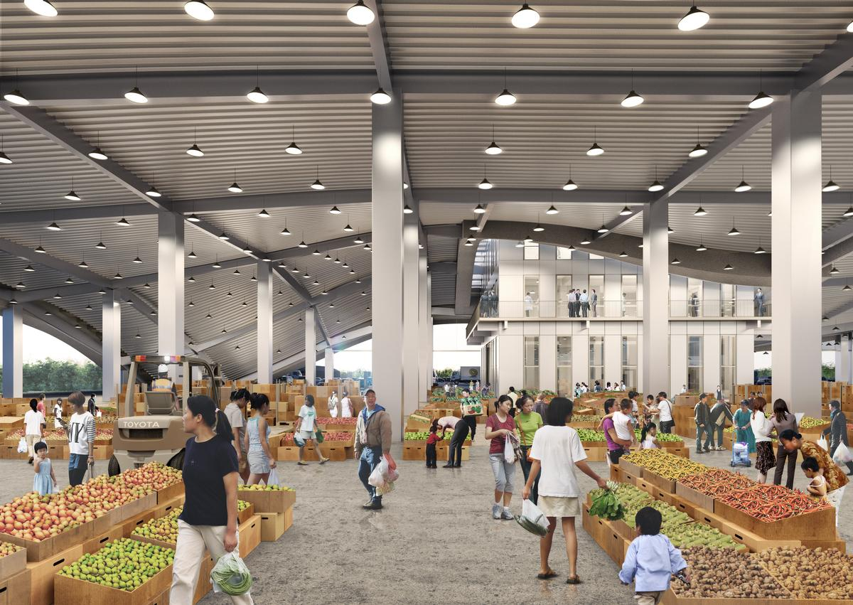 The marketplace section of the structure will play host to kiosks and vendor stalls. / Courtesy of MVRDV