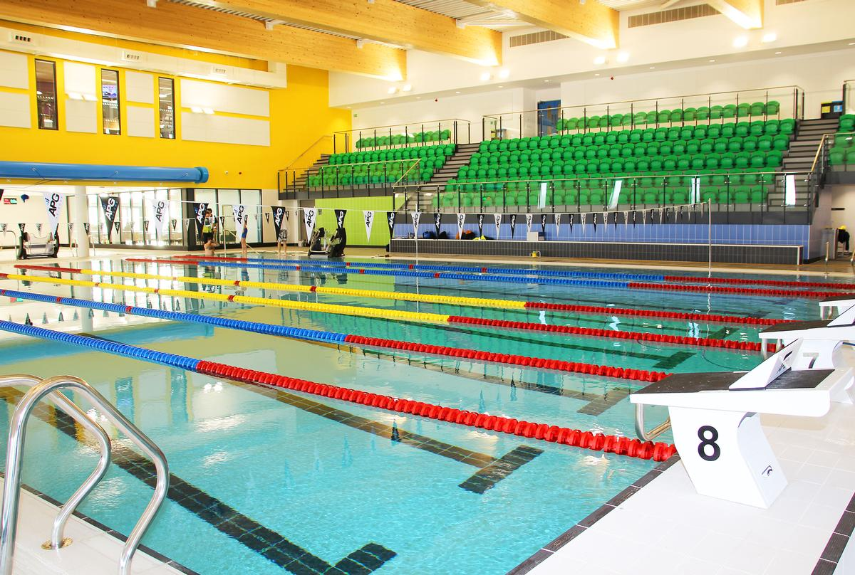 The county standard championship pool has seating for 250