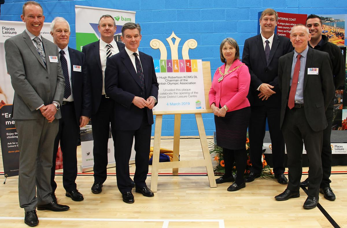 Sir Hugh Robertson and chair of Dover District Council Cllr Sue Chandler (both centre) at the unveiling ceremony
