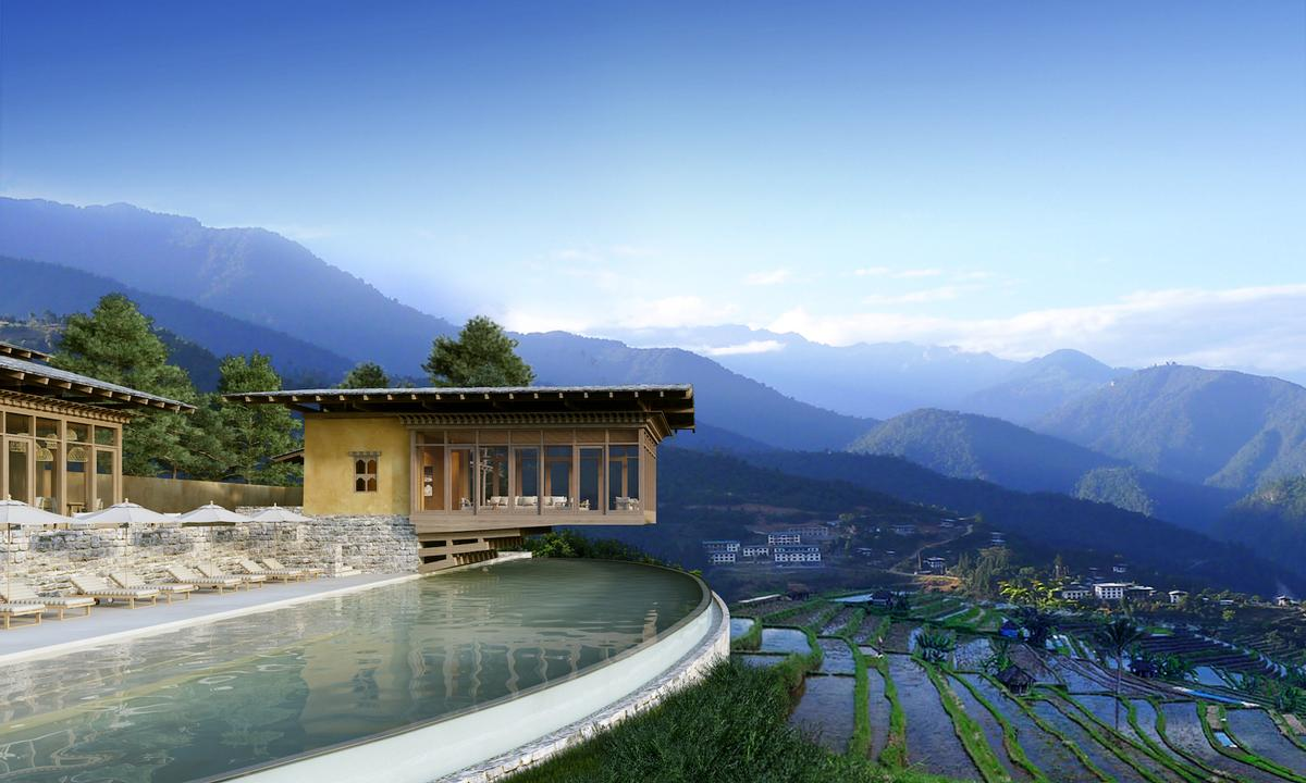 Punakha lodge offers vistas over the rice paddies