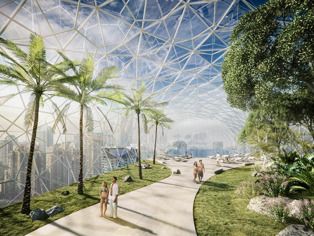 Dubbed 'the Crystal', the sky park will feature gardens and a promenade. / Courtesy of CapitaLand/Safdie Architects
