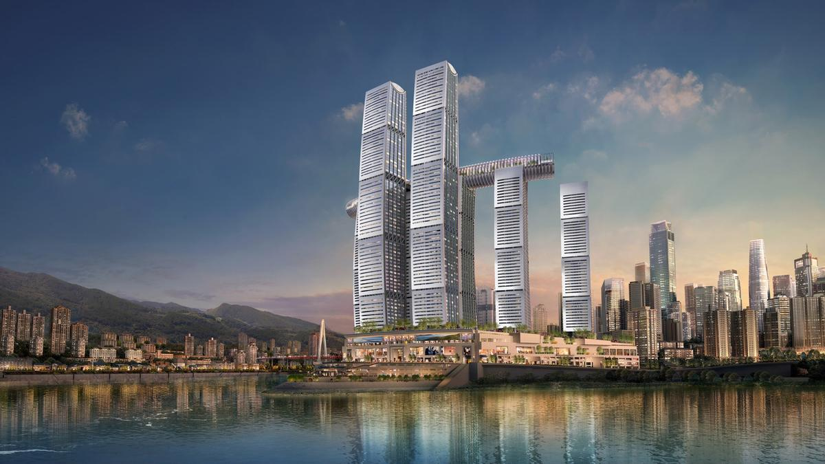Raffles City Chongquing was designed by Safdie Architects. / Courtesy of CapitaLand/Safdie Architects