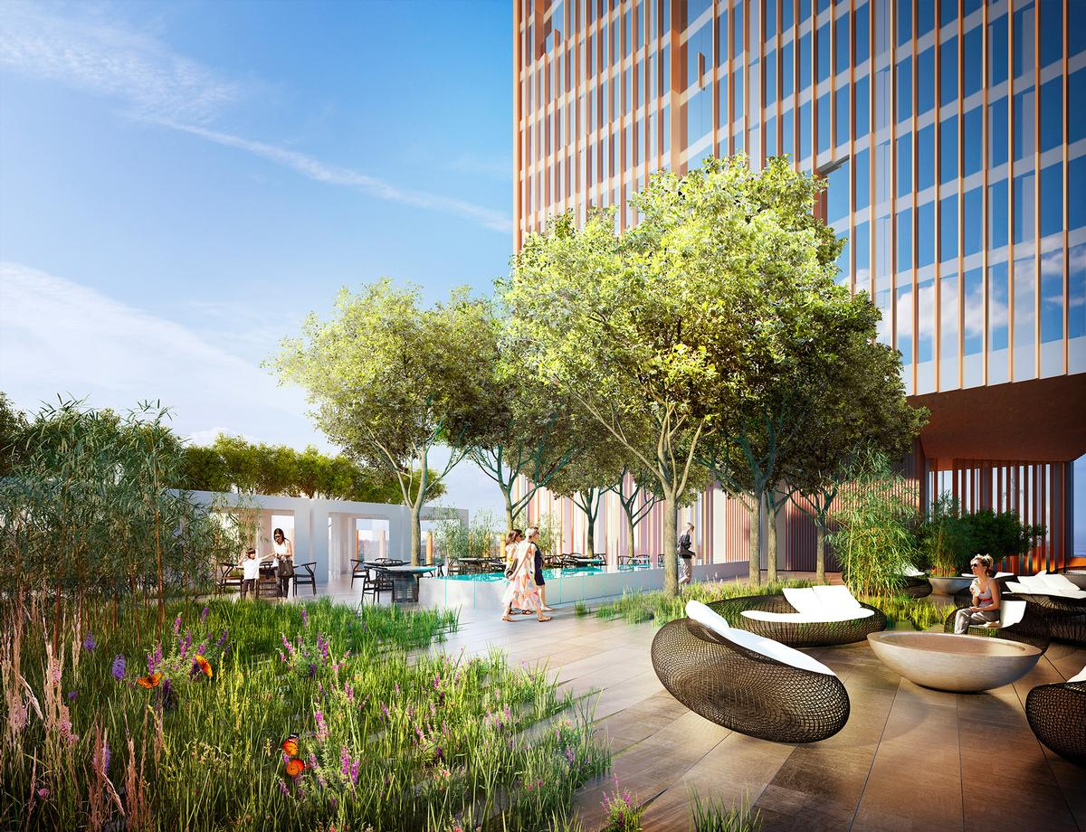 The new property will feature sky gardens, two restaurants, residences, and a five-star hotel. / Manhattan Loft Corporation