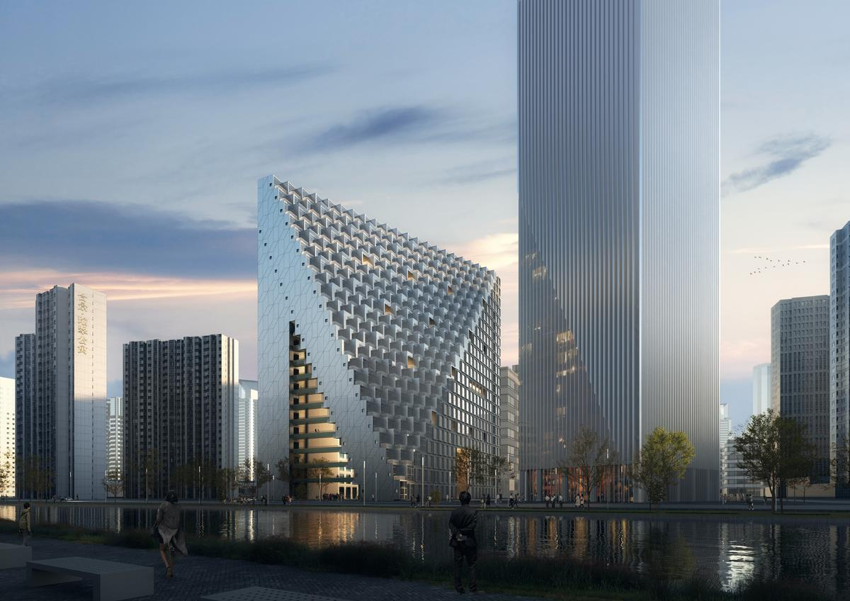 The structure's pinnacle will represent an old Chinese adage about paradise. / Courtesy of OMA/ Image by Bloomimages