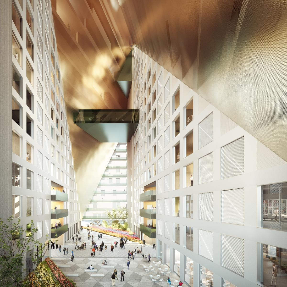 The prismatic building will feature an atrium garden, lofts, a hotel, and retail spaces. / Courtesy of OMA/ Image by Bloomimages