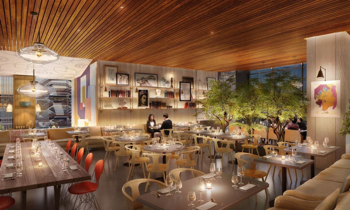 The restaurant – located on the fourth floor of Hudson Yards' retail building – will open on 15 March. / Courtesy of D&D London